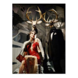 Lady in Red with Deer Mannequins