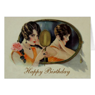 Lady in the Mirror Twenties Birthday card Greeting Card