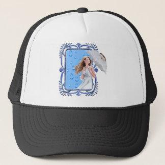 Lady in the rain trucker hat