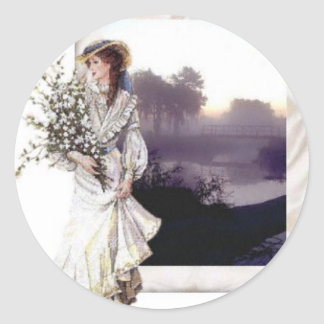 Lady in White Classic Round Sticker