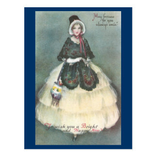 Lady in White Dress with Wrap Vintage New Year Postcard