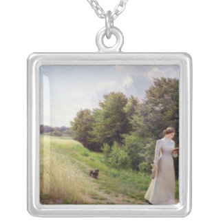 Lady in White Reading Silver Plated Necklace