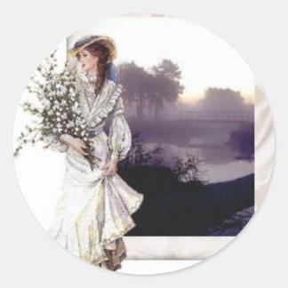 Lady in White Round Sticker