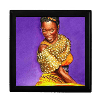 Lady in Yellow Dress Large Square Gift Box