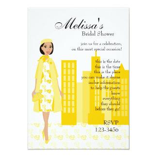 Lady In Yellow 13 Cm X 18 Cm Invitation Card