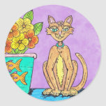 Lady Kitten and Flowers sticker