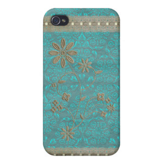 Lady Lace & Pearls Vintage Print iPhone 4 iPhone 4 Case