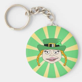 Lady leprechaun basic round button key ring