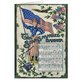 Lady Liberty American Flag Star-Spangled Banner Greeting Card