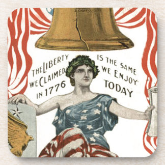 Lady Liberty Bell US Flag 4th of July Drink Coaster