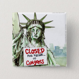 Lady Liberty Closed For Repair Of Congress Funny 15 Cm Square Badge