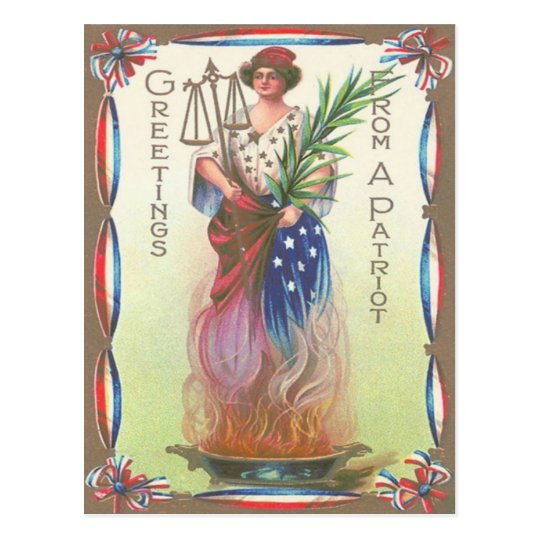 Lady Liberty Eternal Flame Scales of Justice Postcard