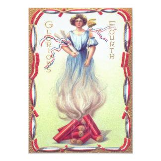 Lady Liberty Fireworks Firecracker Firecrackers 13 Cm X 18 Cm Invitation Card