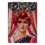Lady Liberty Flag July 4th Vintage Poster Art Deco Greeting Card