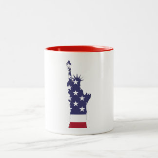 Lady Liberty in Red, White and Blue Two-Tone Coffee Mug
