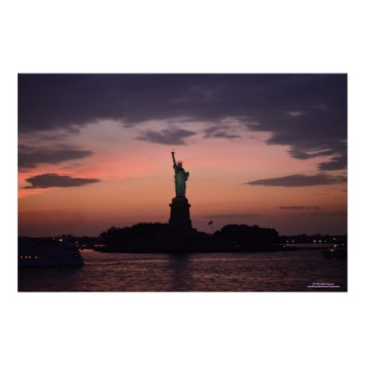 Lady Liberty in Sunset Poster