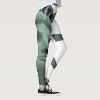 Lady Liberty Leggins Green and White Leggings