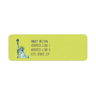 Lady Liberty Lime Green Return Address Label
