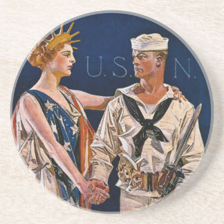 Lady Liberty Meets the U.S. Navy Drink Coasters
