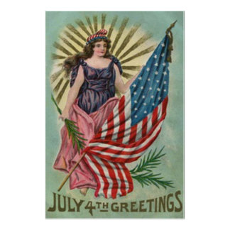 Lady Liberty Stars & Stripes Vintage 4th of July Poster