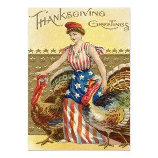 Lady Liberty Turkeys US Flag Patriotic 13 Cm X 18 Cm Invitation Card