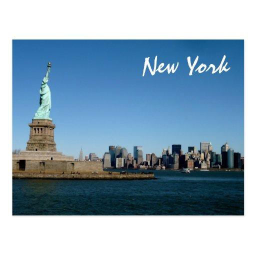 Lady Liberty Watches Over NYC (color) Postcards