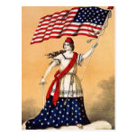 Lady Liberty with American Flag Postcards