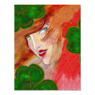 """LADY LUCK IN CLOVER POKER TOURNAMENT OR PARTY 4.25"""" X 5.5"""" INVITATION CARD"""