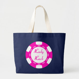 LADY LUCK POKER CHIP LARGE TOTE BAG