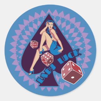 Lady Luck Round Sticker