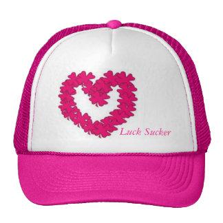 Lady Luck Sucker Pink Clover Heart Cap