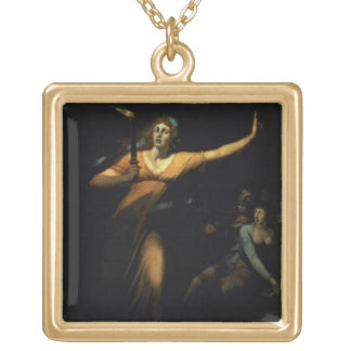 Lady Macbeth Sleepwalking, 1783 (oil on canvas) Gold Plated Necklace