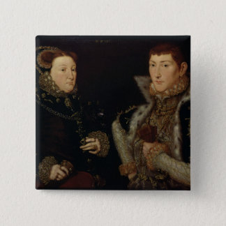 Lady Mary Nevill and her son Gregory Fiennes 15 Cm Square Badge