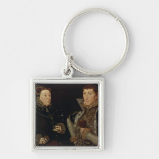 Lady Mary Nevill and her son Gregory Fiennes Silver-Colored Square Key Ring