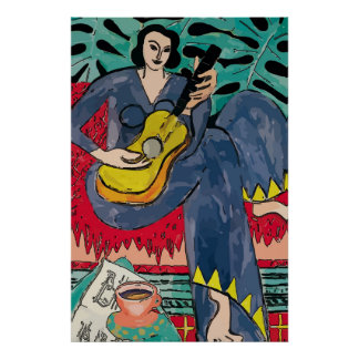 Lady Matisse with Guitar & Coffee Cup Poster