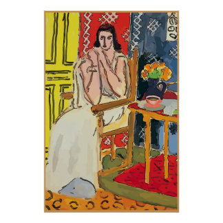 Lady Matisse with Orange Coffee Cup Poster