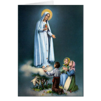 Lady of Fatima w/Children Virgin Mary Rosary Card