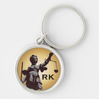 Lady of Justice with scales with monogram Key Ring