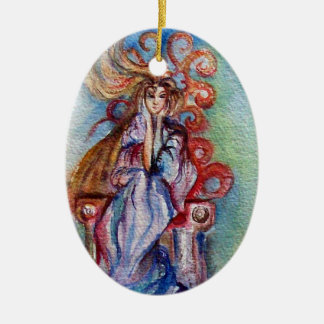 LADY OF LAKE , Magic and Mystery Double-Sided Oval Ceramic Christmas Ornament