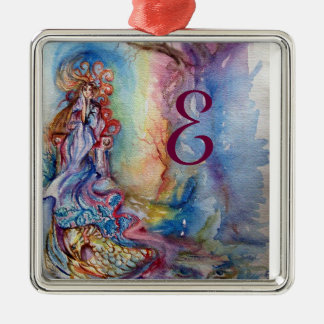 LADY OF LAKE , Magic and Mystery monogram Square Metal Christmas Ornament