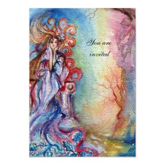 LADY OF LAKE , vibrant  blue pink gem burgundy 13 Cm X 18 Cm Invitation Card