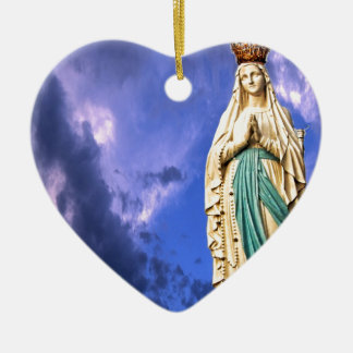 Lady of Lourdes Ceramic Heart Decoration