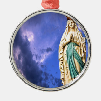 Lady of Lourdes Silver-Colored Round Decoration
