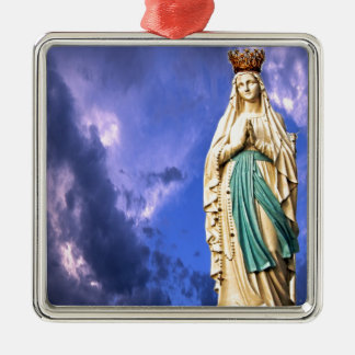 Lady of Lourdes Silver-Colored Square Decoration
