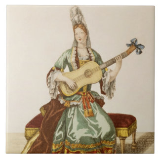 Lady of Quality Playing the Guitar, fashion plate, Large Square Tile