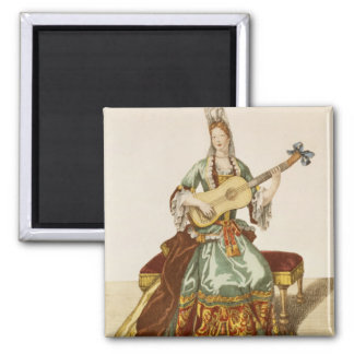Lady of Quality Playing the Guitar, fashion plate, Magnet