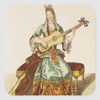 Lady of Quality Playing the Guitar, fashion plate, Square Sticker