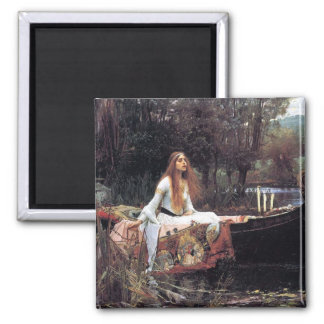 Lady of Shallot antique art painting Square Magnet
