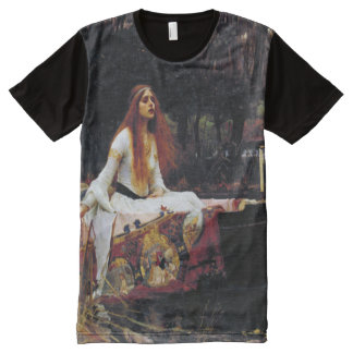 Lady Of Shallot on Boat JW Waterhouse Fine Art All-Over Print T-Shirt