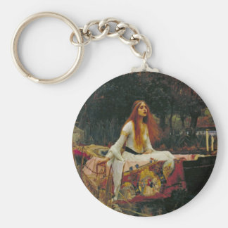Lady of Shalott in Her Boat Basic Round Button Key Ring